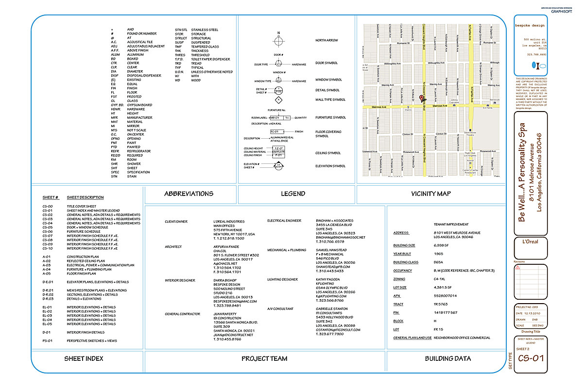CS-01 Sheet Index + Master Legend