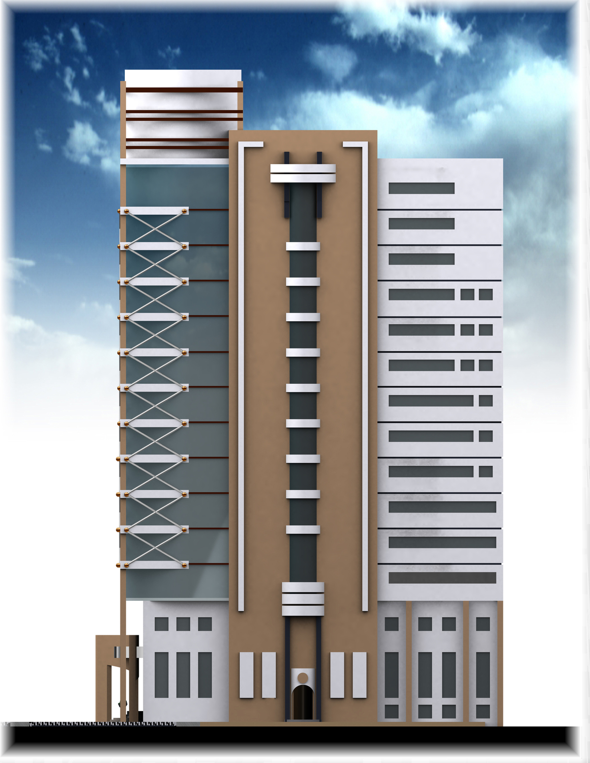 Homefront Tower Elevation : Office banking tower loaei thabet archinect
