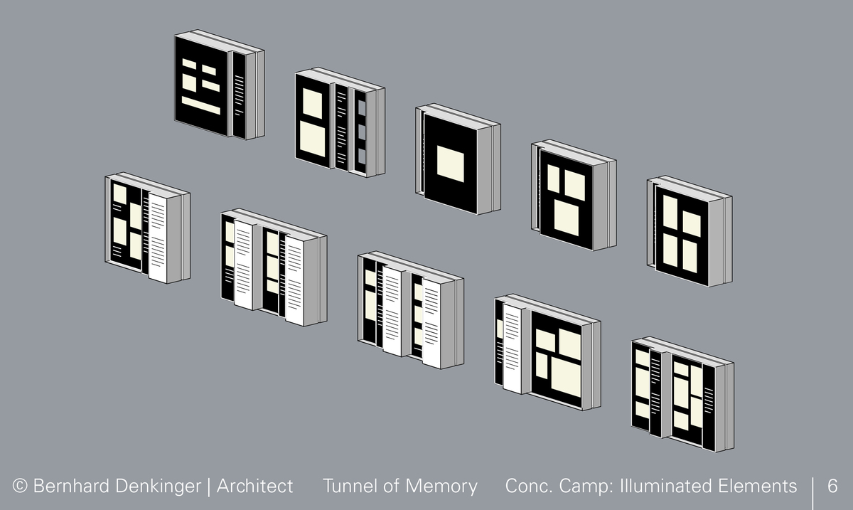 """Steyr-Muenichholz Concentration Camp: The three-dimensional design of the illuminated elements with set¬-back parts and recessed niches permits a """"layered"""" perception with various levels containing the very diverse and concentrated pictures and documents, accounts and commentaries."""