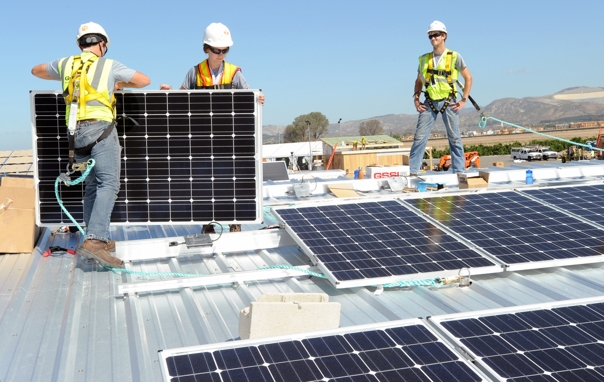 Clemson Solar D students finishing the PV installation