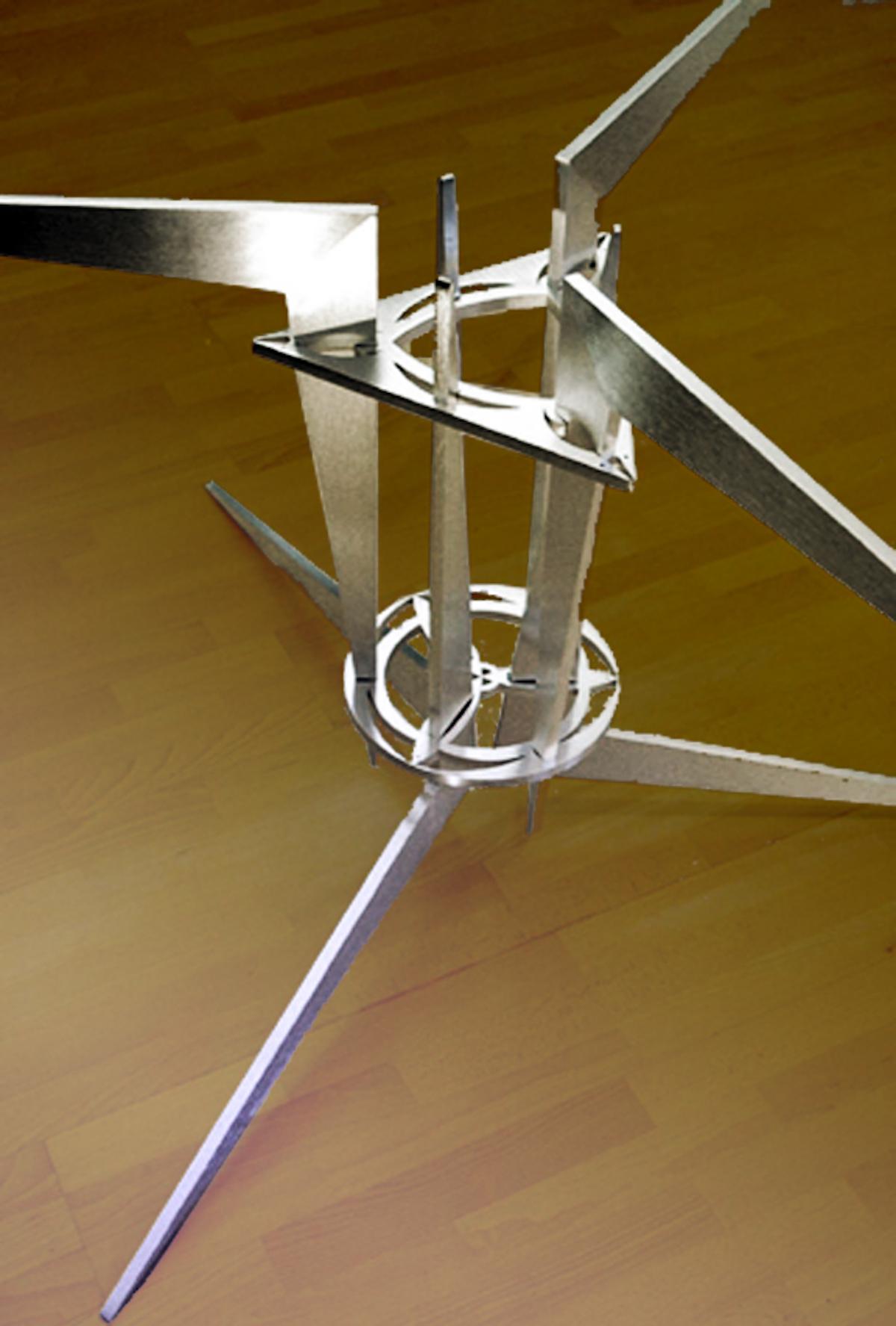 knock down dining table base-Interlocking waterjet cut aluminum.