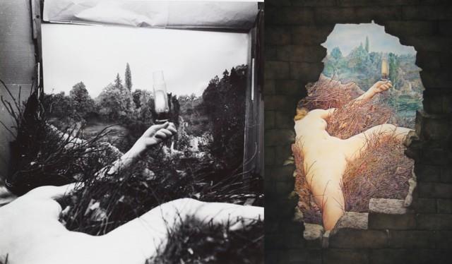 Left: Duchamps Étant donnés Right: Rafrrays Étant donnés
