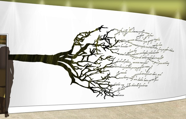 Rooted Restaurant and Tea Room Wall Mural Detail: Google SketchUp, Adobe Photoshop