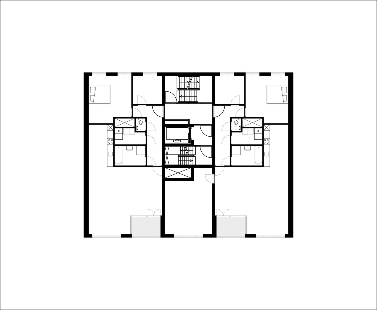 Floor plan of 2nd-7th floor of B05 Kuifje by NL Architects. Image: NL Architects.