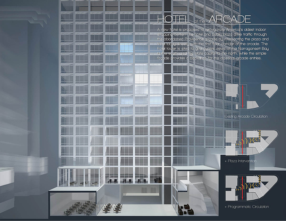 Section at new connection to the arcade, with proposed plaza, hotel facade and circulation diagram