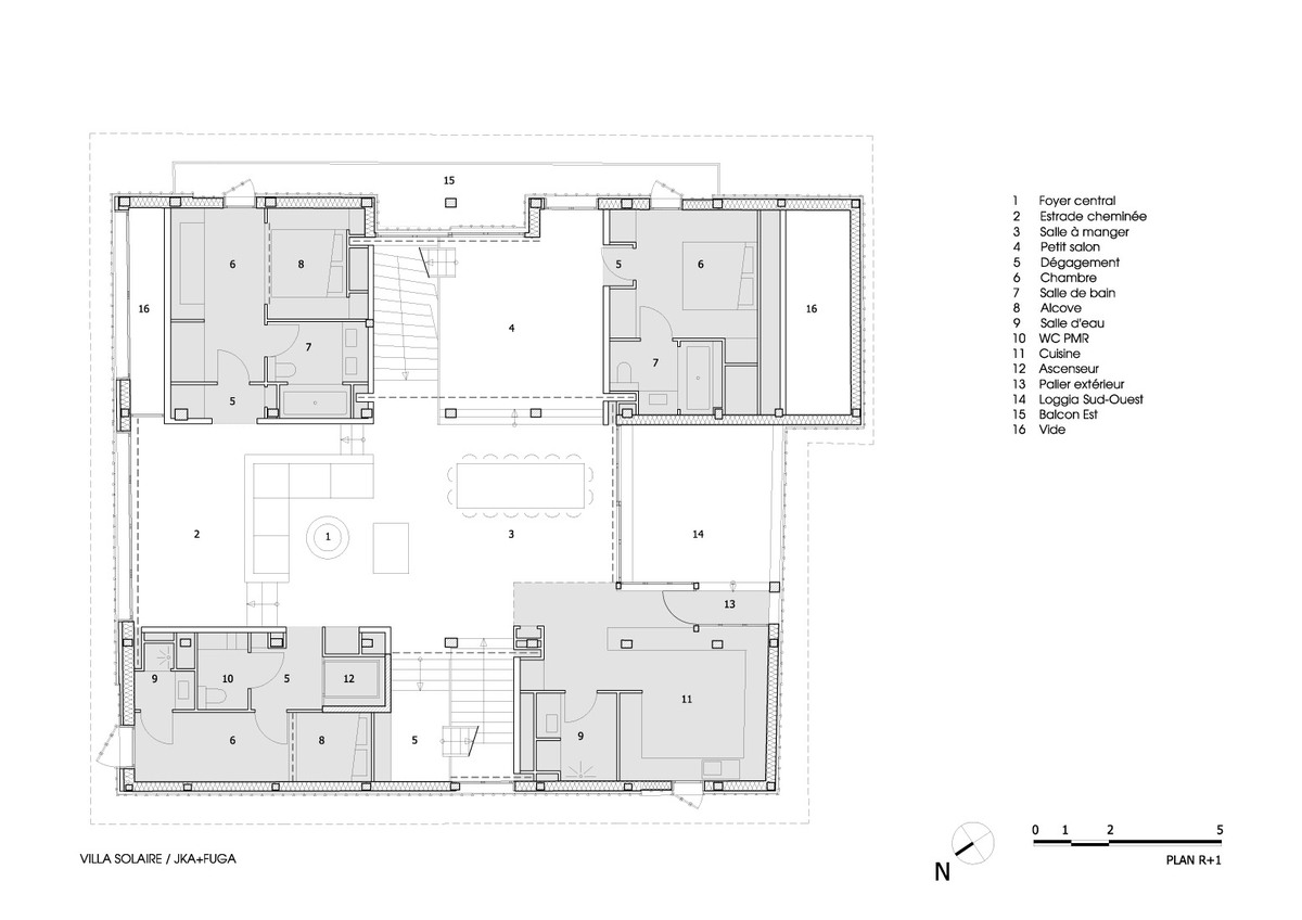 PLAN N1: Four room blocks define a central cross-shaped space.