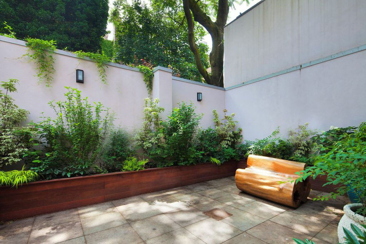 Nyc Garden Design image of backyard with contemporary furniture grass and pave stones My Role Design Installation