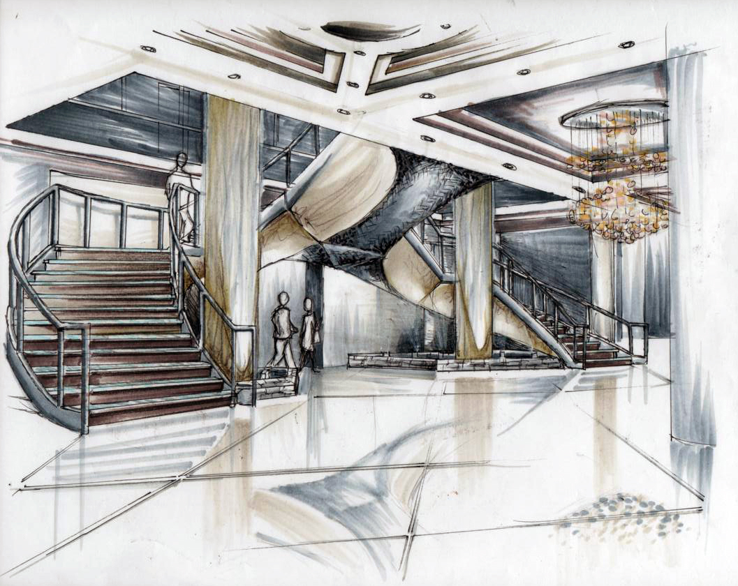 Hotel lobby and grand staircase