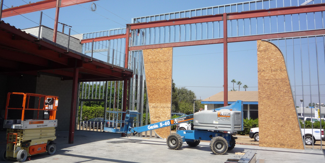 Building Shell Steel Infill Framing Form Under Construction