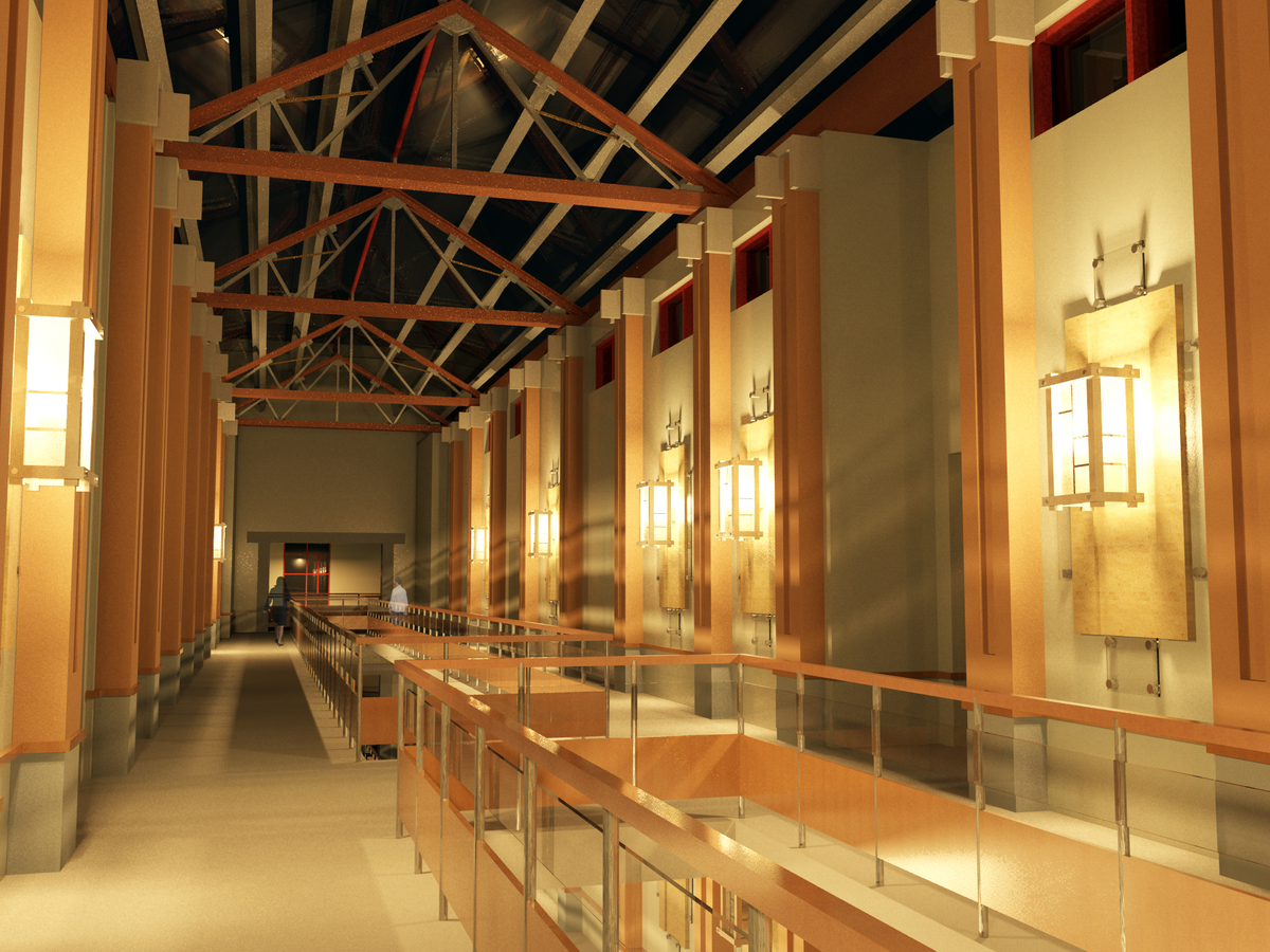An interior rendering in 3DS Max during the nighttime of the upper level of the gallery.