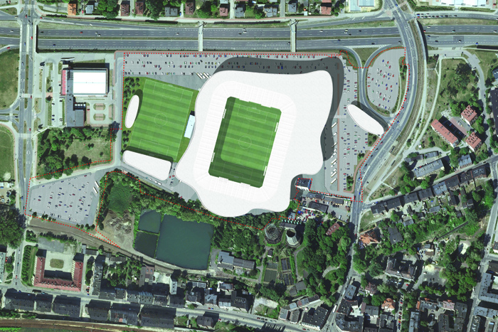 Andrea Maffei Architects - Competition for Ruch Chorzow stadium in Poland (2013)