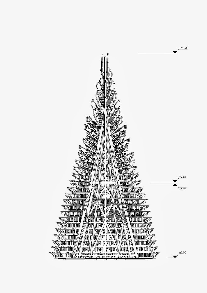 Drawing of Hello Wood's Christmas tree installation. Image: Hello Wood.