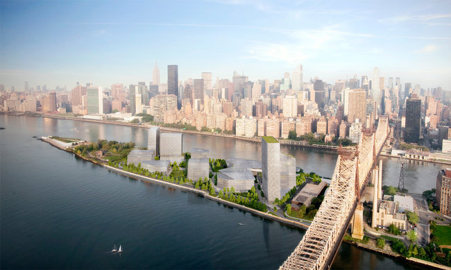 Cornells proposed new NYC tech campus by SOM & Field Operations, with a building by Morphosis