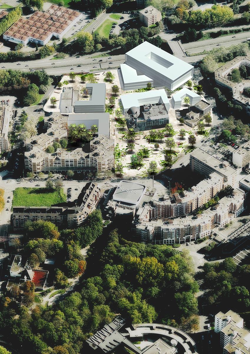 Centre Villeneuve-dAscq, volume studies and landscape design