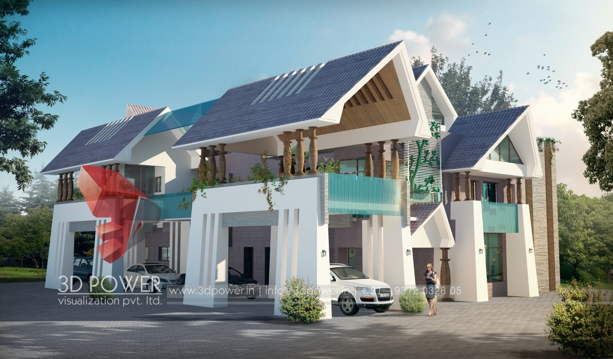 3d sloping roof bungalow day and night rendering elevation design by 3d power
