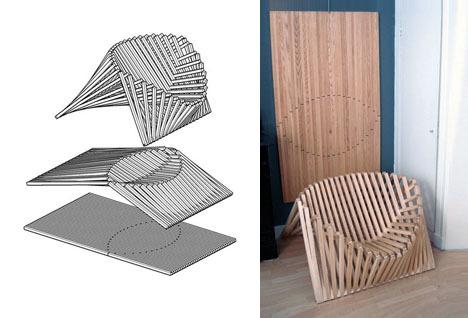 Flatpack wood folding chair by Robert van Embricqs