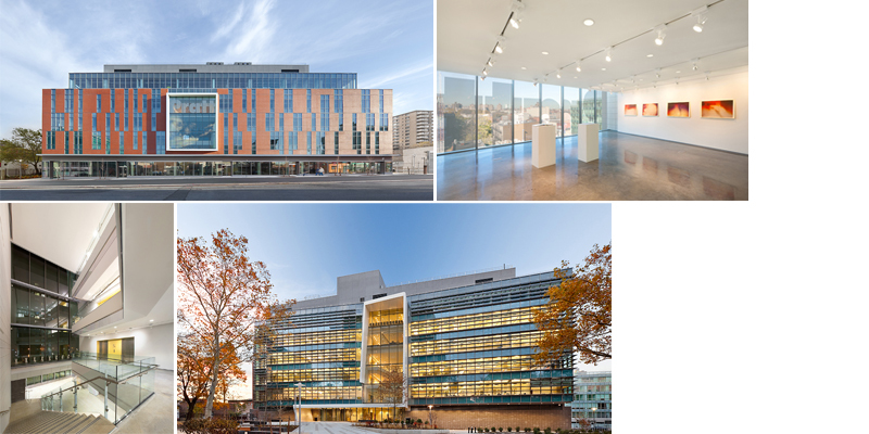 Clockwise from top left: north side of Myrtle Hall from Myrtle Avenue; Digital Arts Gallery; atrium view from the second floor of Myrtle Hall, facing Willoughby Avenue; south side of Myrtle Hall from Willoughby Avenue. Photos credit Alexander Severin/RAZUMMEDIA.