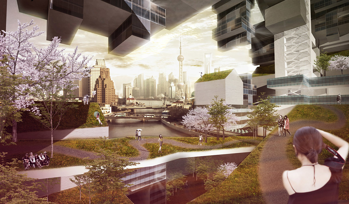 View from inside a city-cluster (Image: PinkCloud.dk)