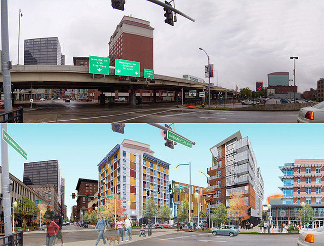 The rendering of the grade-level boulevard as an alternate option from the Park Over the Highway. Photo courtesy of nextSTL.