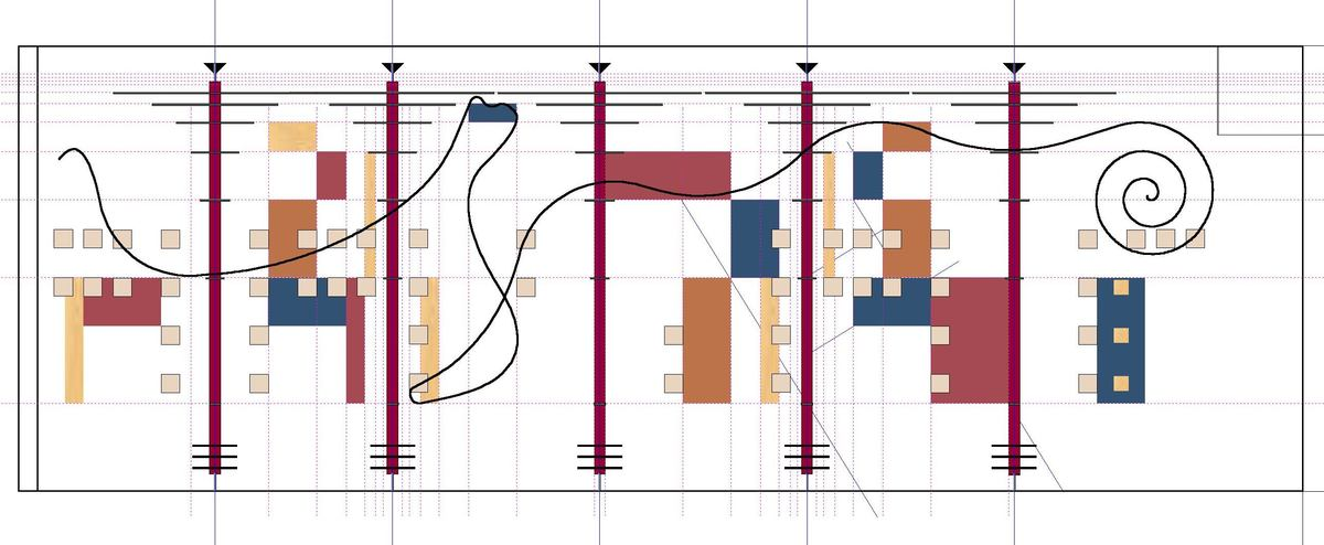 Elevation of art wall - fibonacci grid is shown.