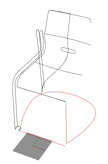 1. The wireframe Kari 3 chair in Rhinoceros 3D immediately after digitizing