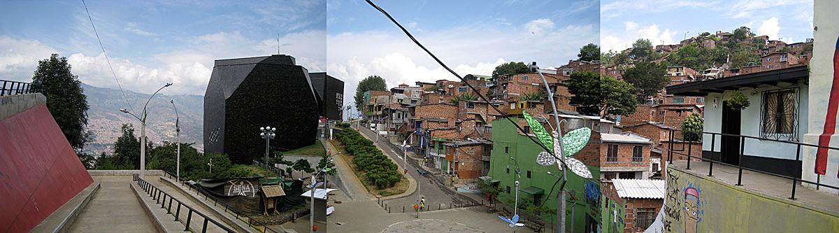 Panoramic, Parque Biblioteca (Library Park) España in Santo Domingo Savio, Medellín (Colombia)
