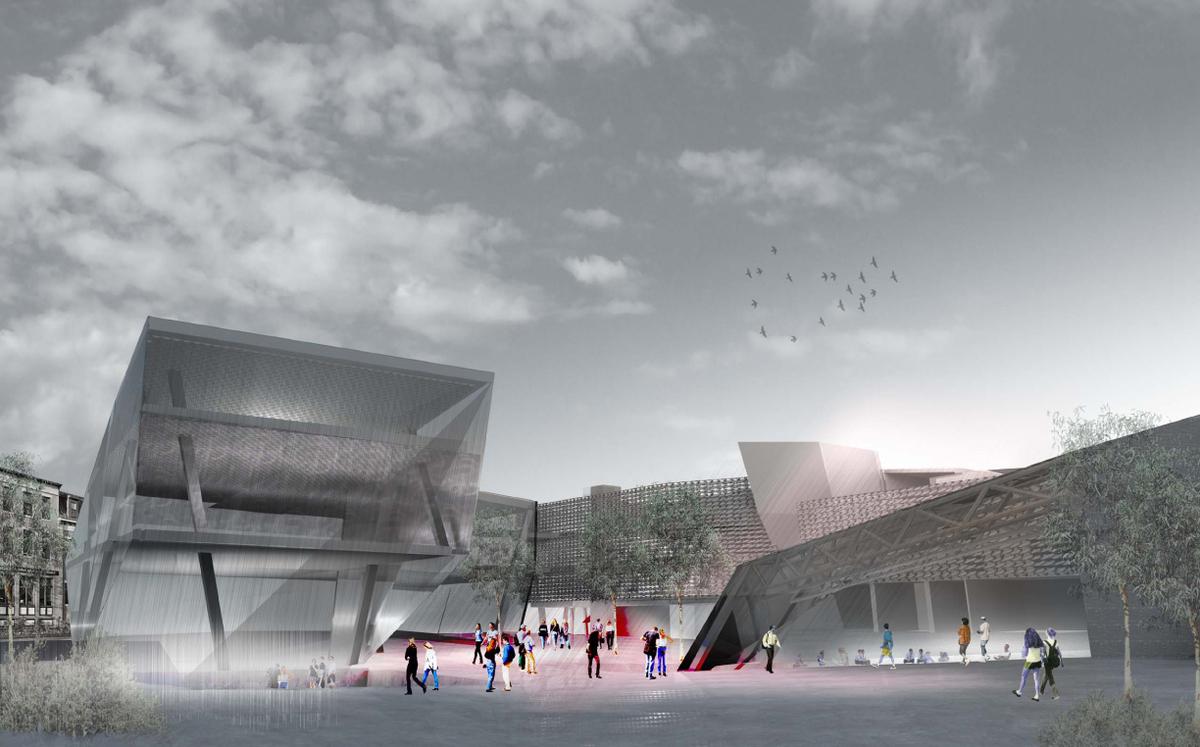 Conceptual render of center court