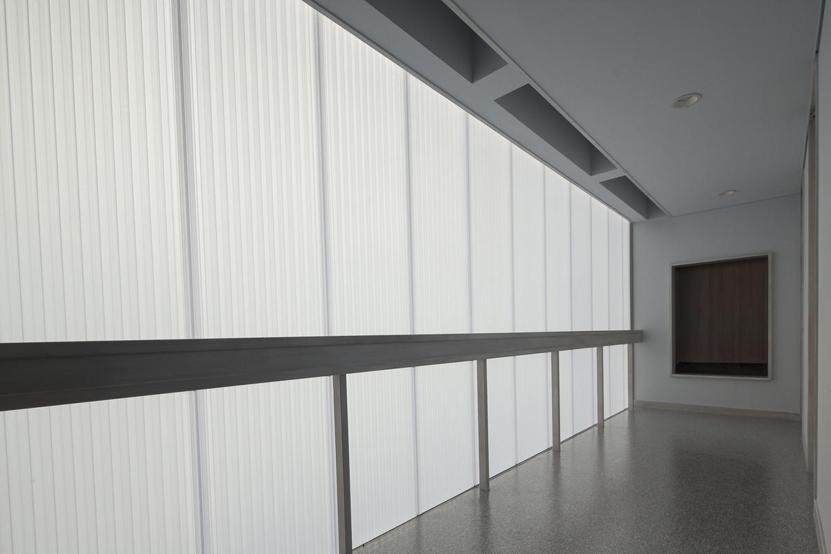 Orandajima House interior view of polycarbonate panel