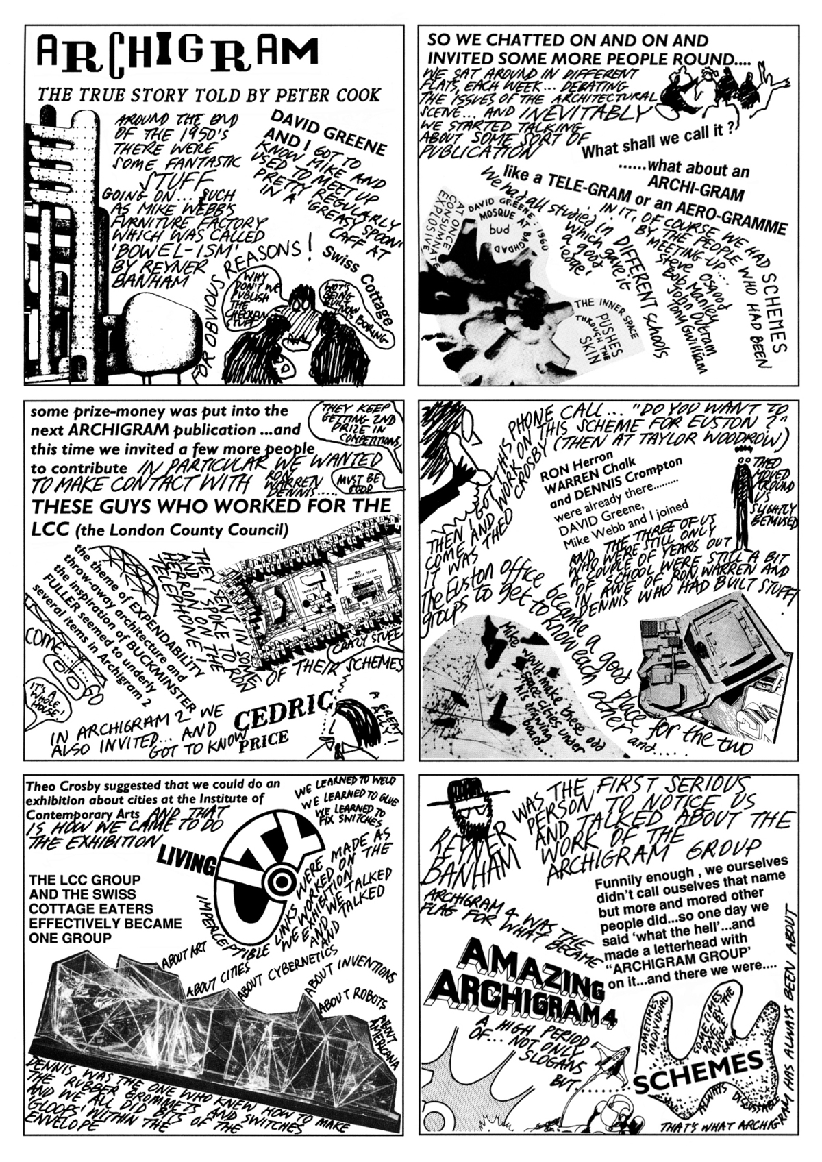 Archigram, The True Story Told by Peter Cook. Image courtesy of Peter Cook.