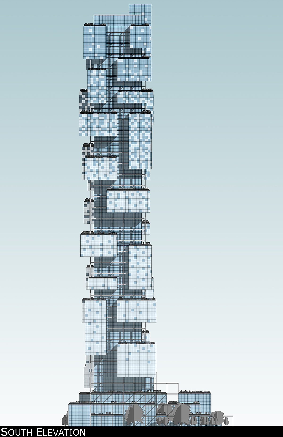 South elevation rendering showing one possible pattern achievable with smart glass