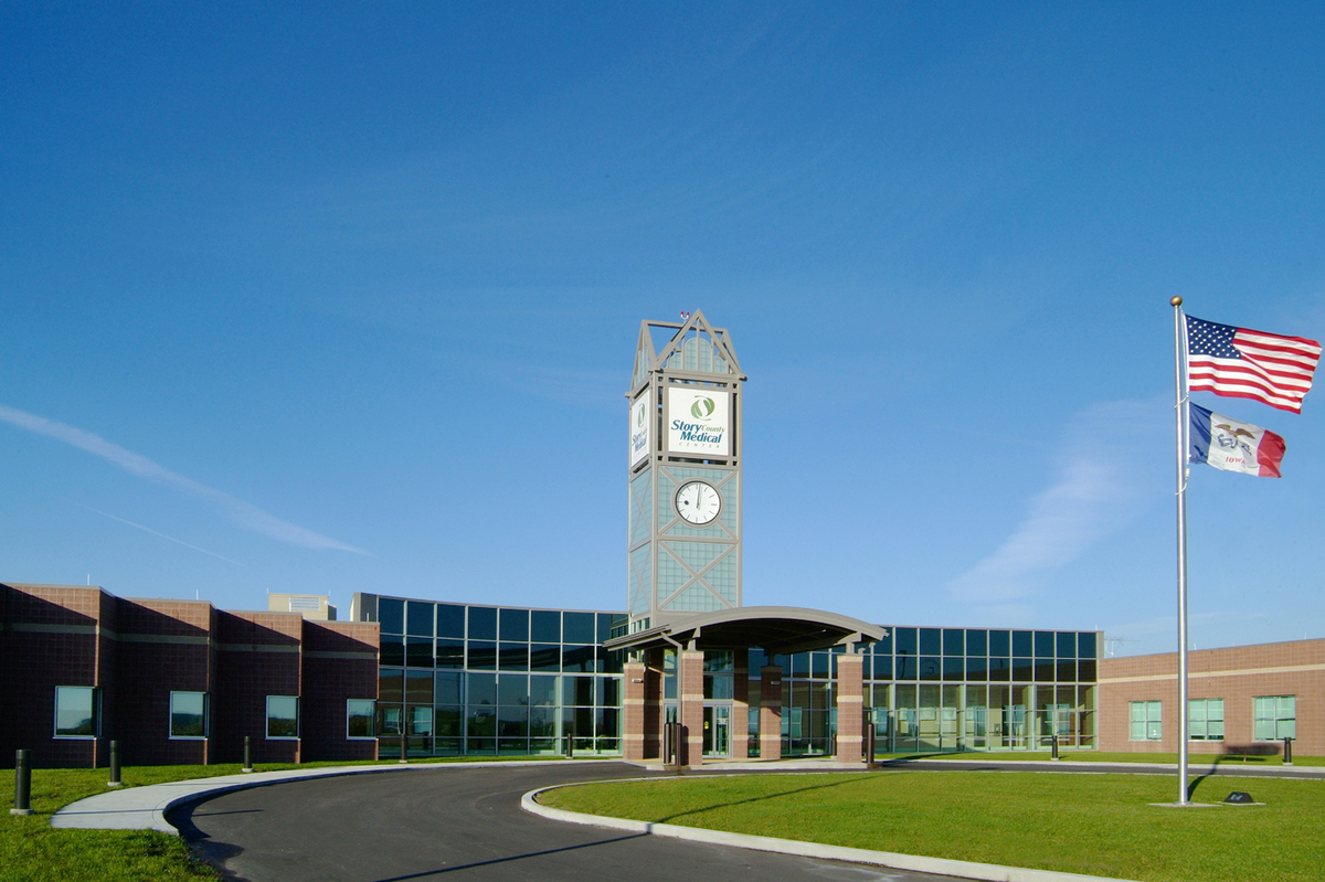 Main entrance of Story County Medical Center under the clock tower.