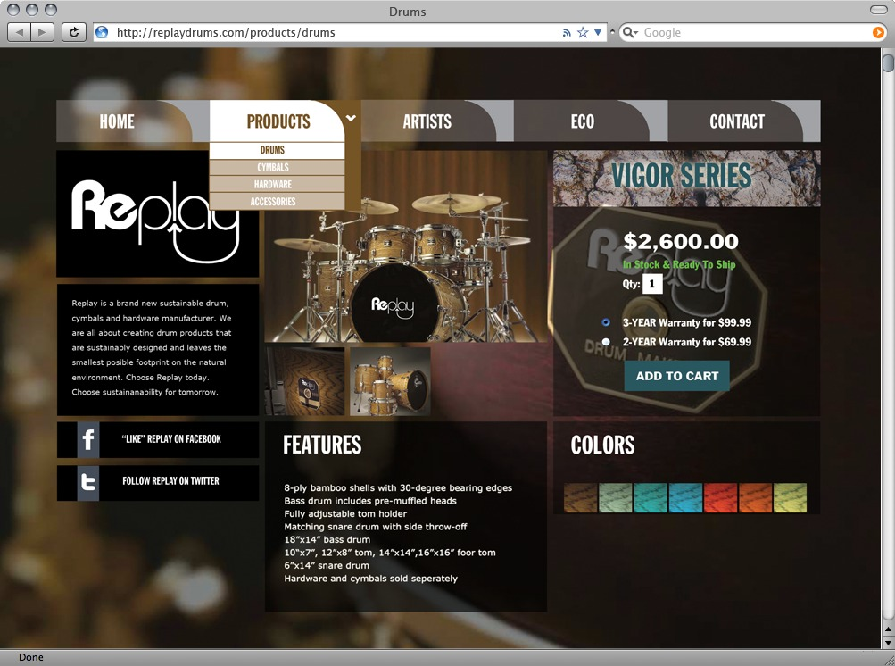 Drums page shows details for selected drum kit.