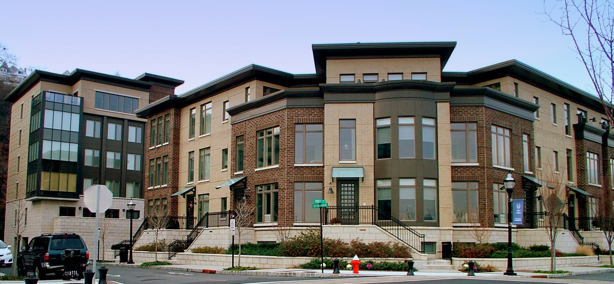 CORNER VIEW OF TYPICAL TOWNHOUSE and CONDOMINIUM BUILDING