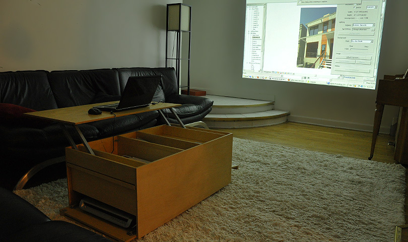 Work desk + laptop + projector + 5.1 home theater