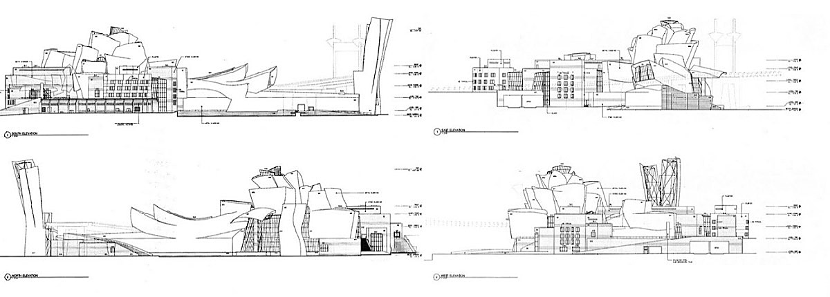 Figure 10 - Guggenheim Museum in Bilbao Elevations. Clockwise from top left: South, East, West, and North