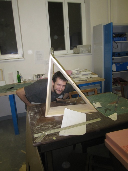 member of Team A (aka Cold Pop) working on pavilion design for the 2013 Prague ReSITE Festival, at Architectural Institute in Prague (ARCHIP)