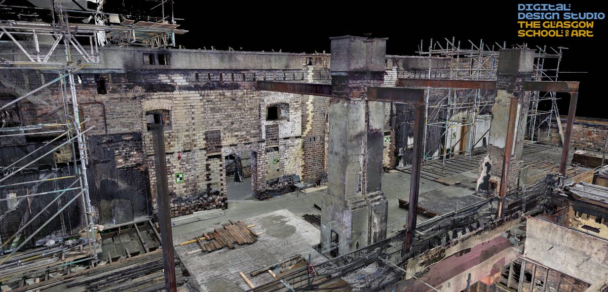 Laser scan of the damage to the GSA, courtesy of The Digital Design Studio at Glasgow School of Art.