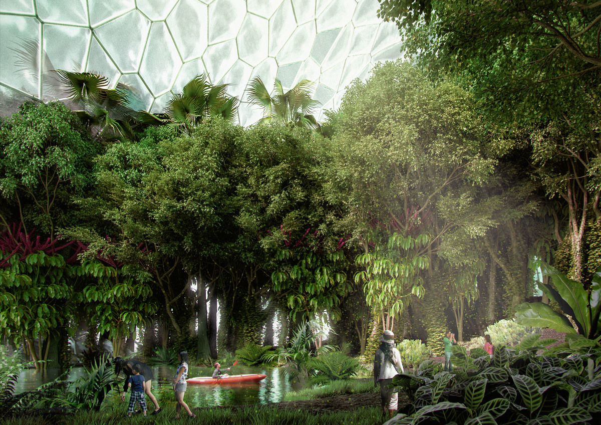 In the tropical rainforest inside the dome, visitors will experience the importance of biodiversity.