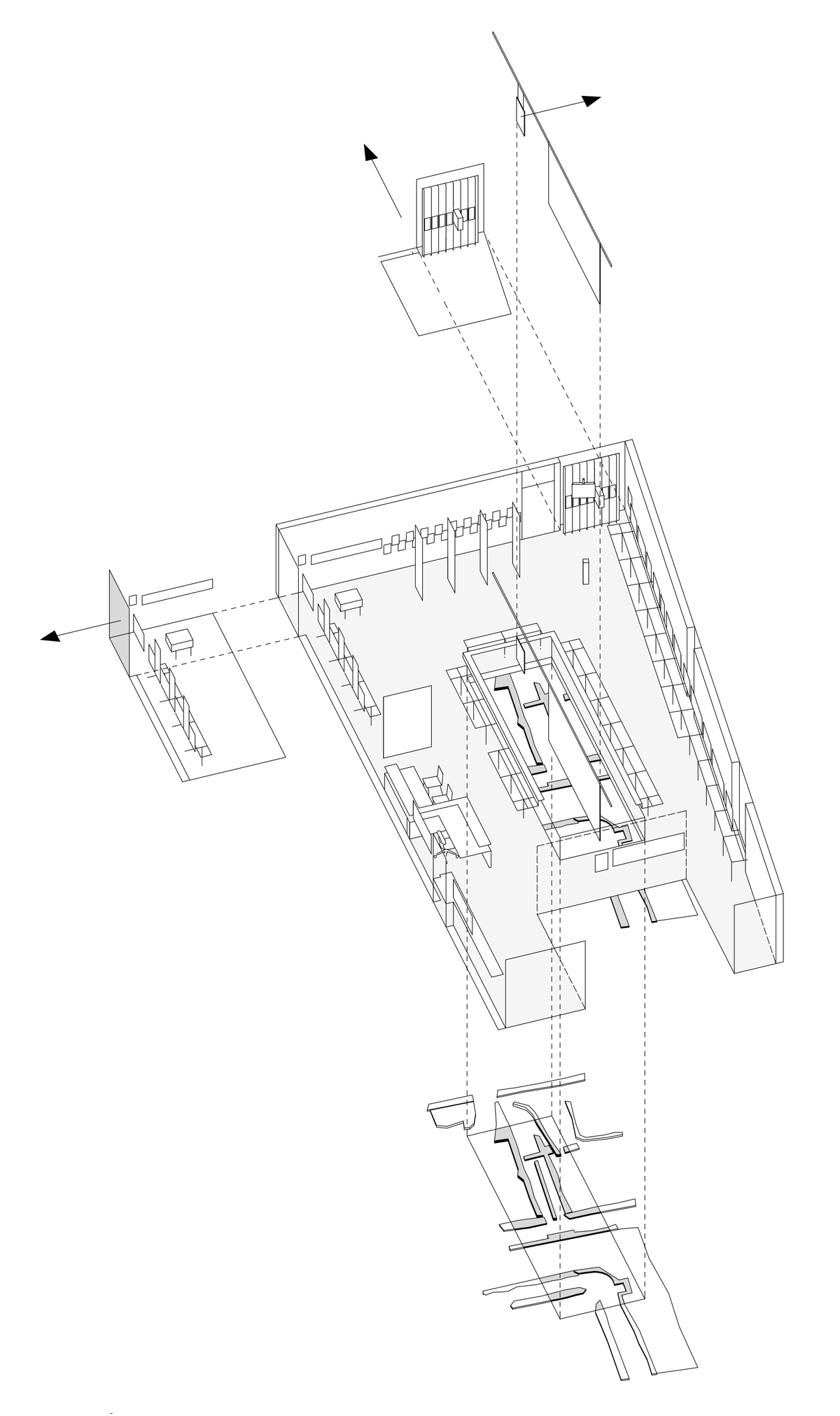 Context for the exhibition: houses nearby, memorial of 1965 and archaeological finds. Drawing: © Bernhard Denkinger