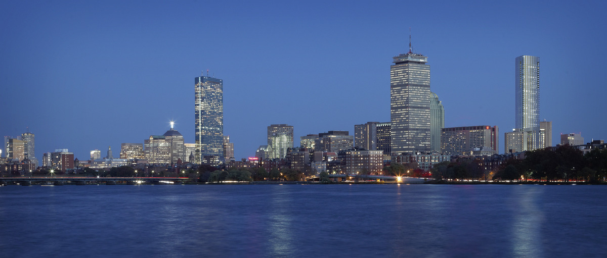 Boston skyline from Charles River Basin with the new tower at far right