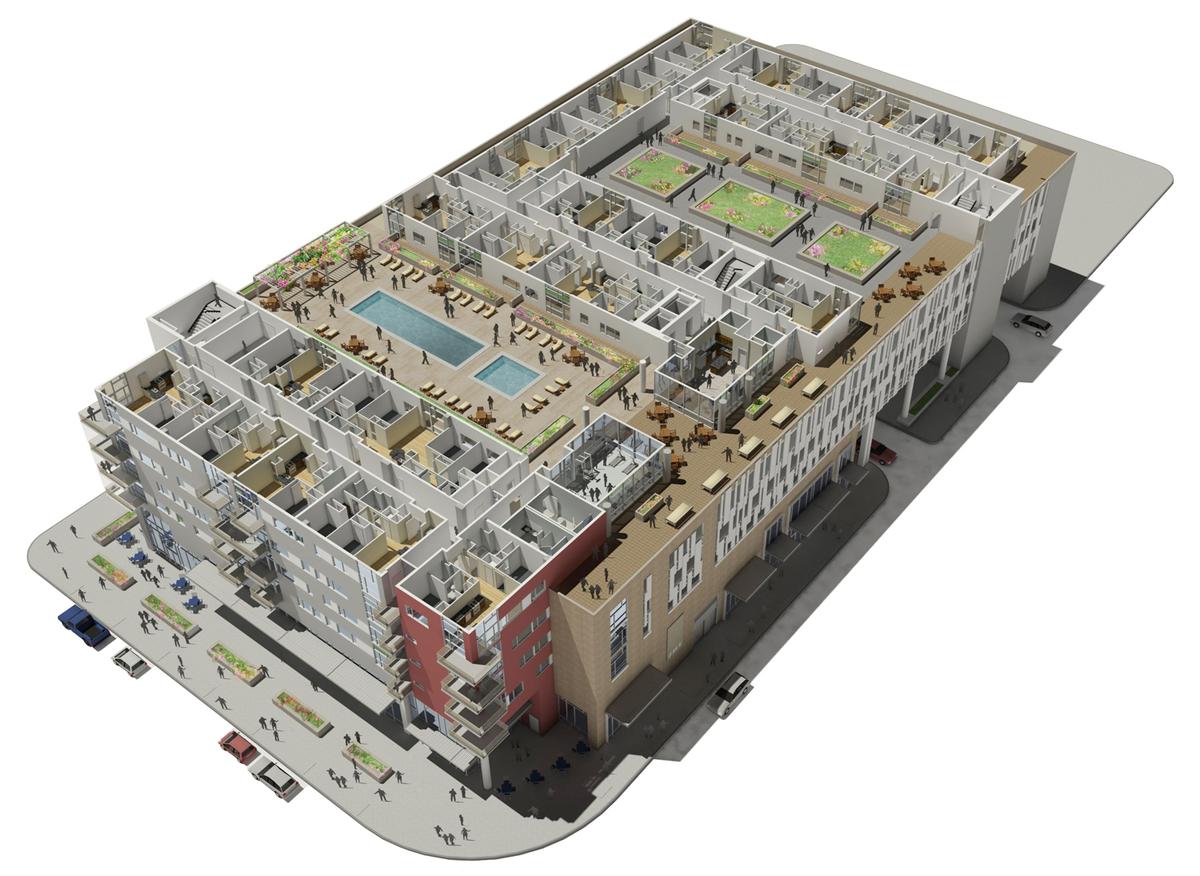 Courtyard Level Cutaway