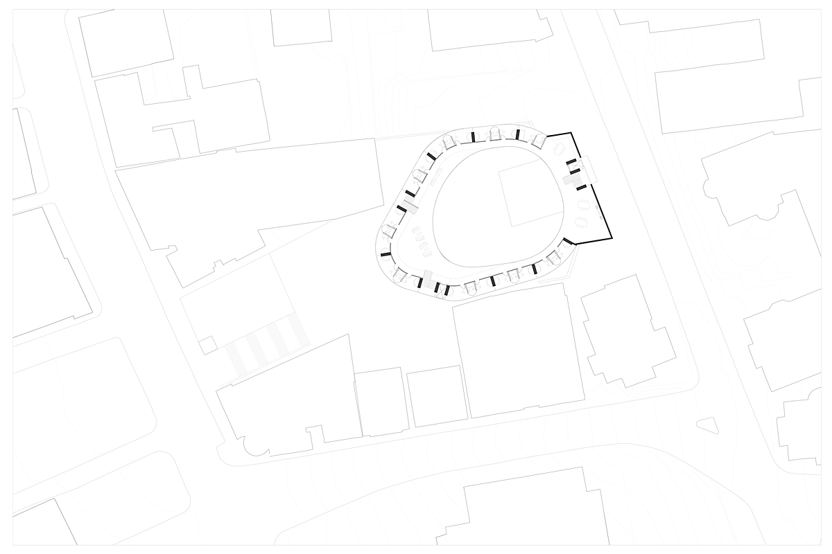Typical plan with dorm layouts and student common areas.
