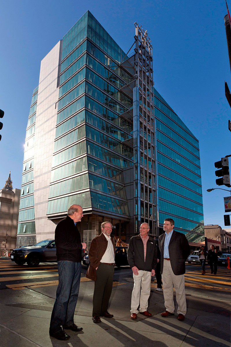 Team photo from left to right David Hobstetter, Principal, KMD Architects; Michael Rossetto, Sr Associate, KMD; Kelly Galloway, Director of Construction Administration, KMD; and Matt Rossie project manager for Webcor Construction, standing in front of 525 Golden Gate (Photo: Michael O'Callahan)