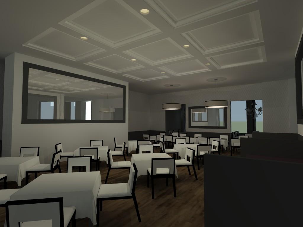 Rendering of second floor dining