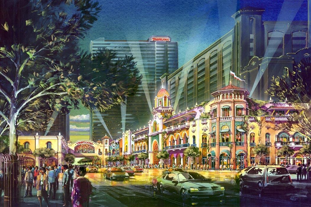Tropicana Resort & Casino - SW View at Pacific Avenue.