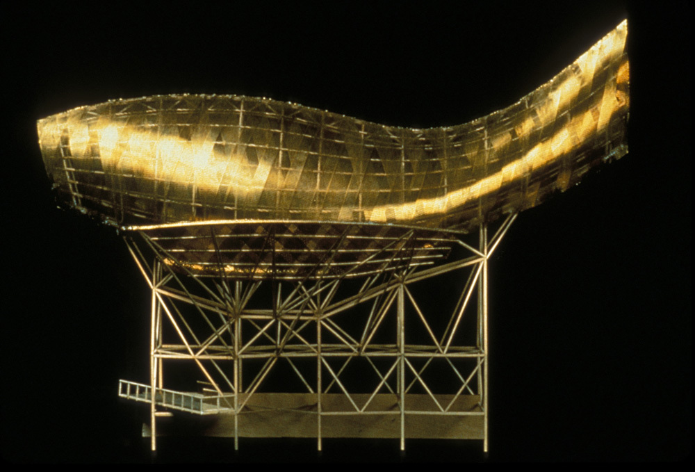 Olympic Fish, Olympic Village Barcelona, 1990. Metal and basswood. 22.5 x 16.5 x 12.25 inches. Courtesy of the artist and Leslie Feely Fine Art. Photo Credit: Gehry Partners.