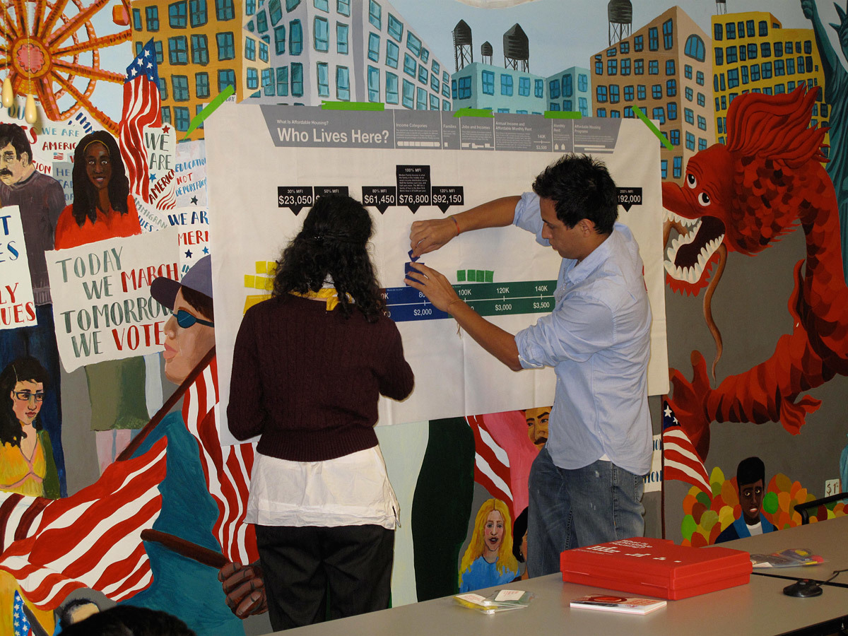 CUP: CUP's affordable housing workshops employ interactive materials like this felt chart that maps the median income of a neighborhood (Photo: Center for Urban Pedagogy)