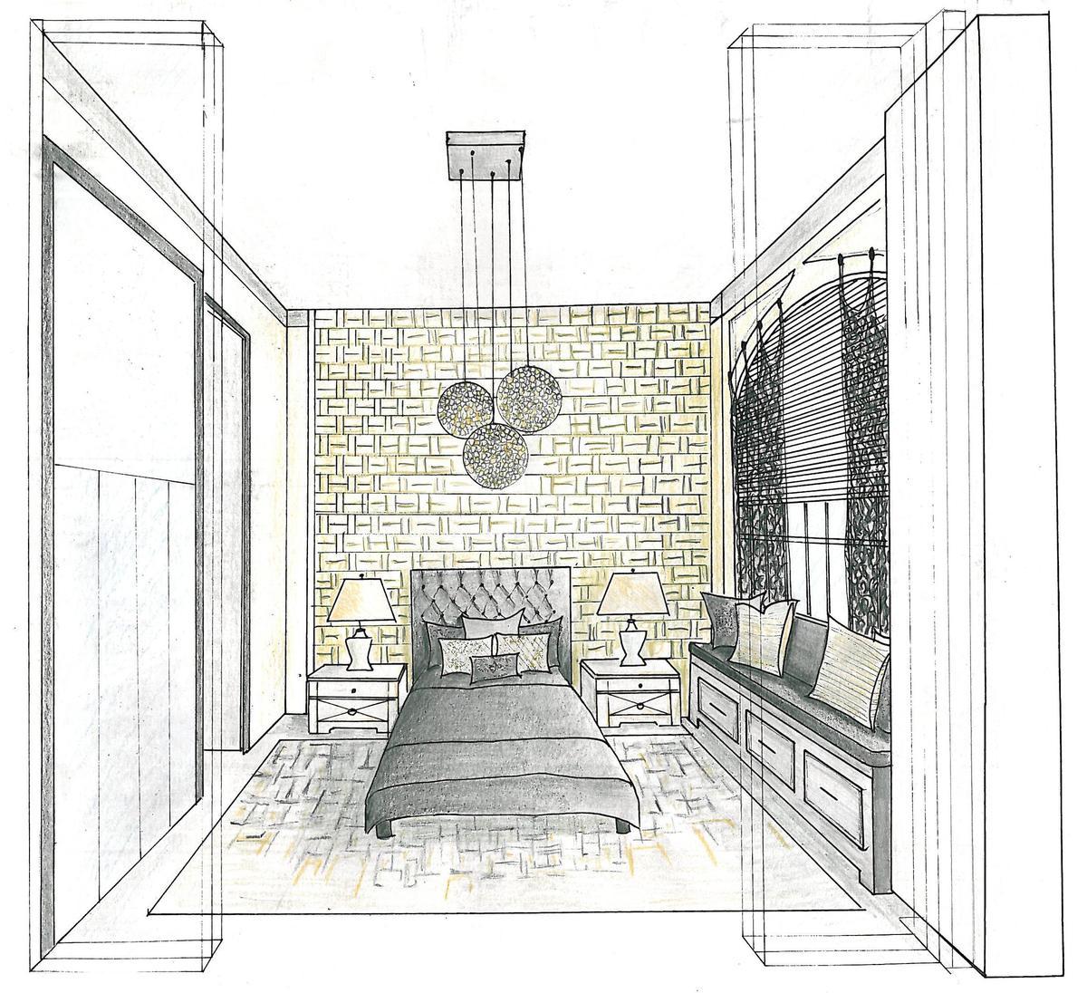 One Point Perspective Bedroom: Joanna Wasilewska