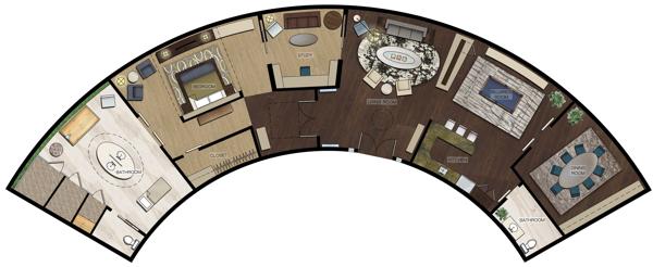 Premiere Suite Rendered Floor Plan.