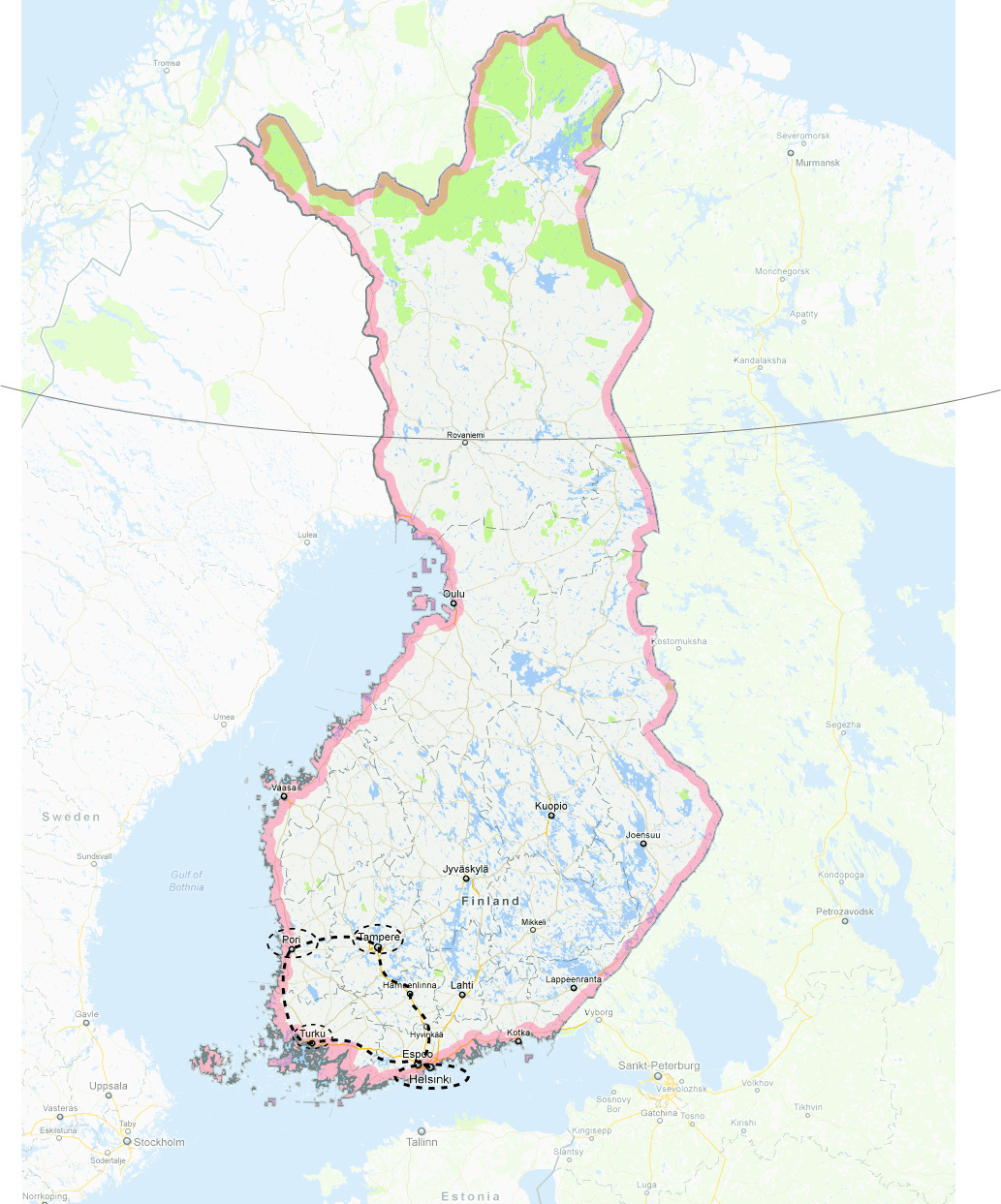 Route of the Finland West excursion. Map by Jennifer Wong.